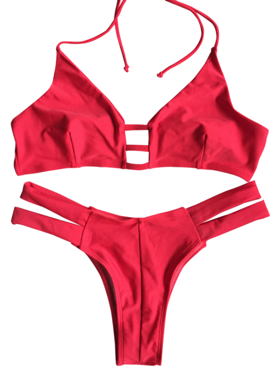 Banded Unlined Halter Bikini - RED XL Mobile