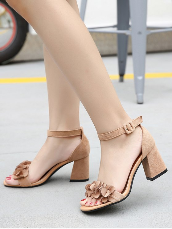Block Heel Ankle Strap Flowers Sandals - KHAKI 38 Mobile