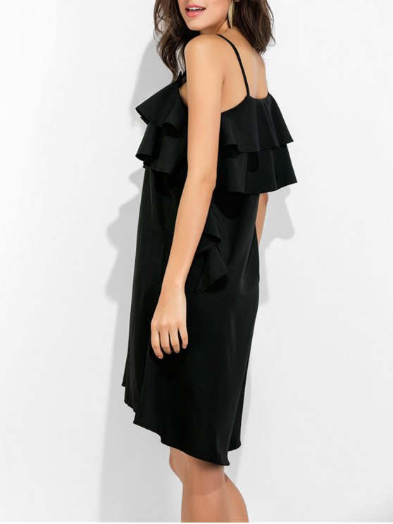 Spaghetti Straps Ruffle Dress - BLACK M Mobile
