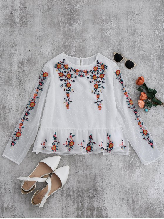 sale Ruffles Floral Embroidered Blouse - WHITE M
