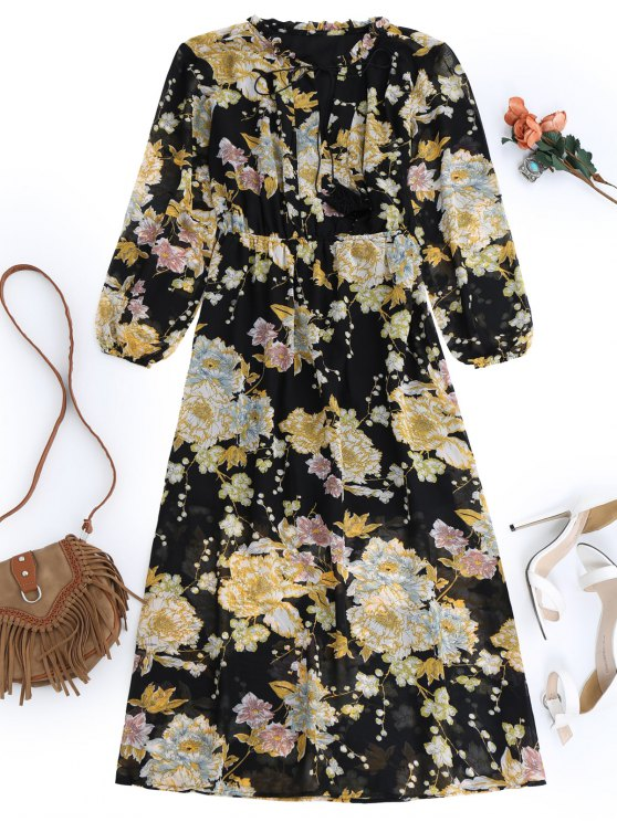 fancy Fringed Floral Maxi Dress - BLACK M
