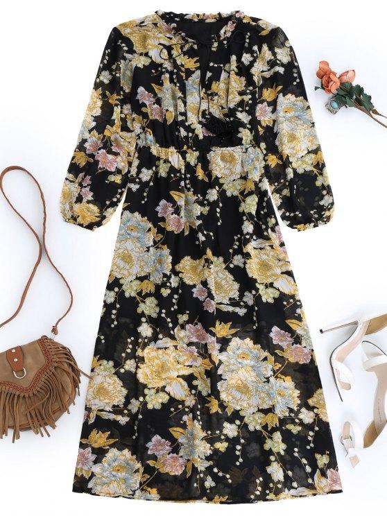 Robe maxi à fleurs frangées - Noir S