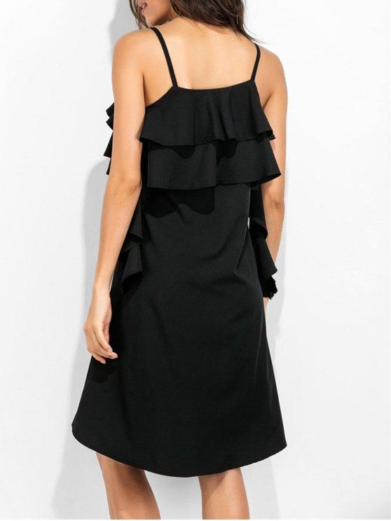 Spaghetti Straps Ruffle Dress - BLACK M Mobile