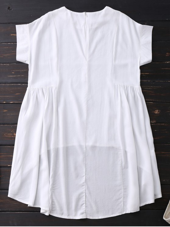 High Low Skirted Flowy Top - WHITE S Mobile