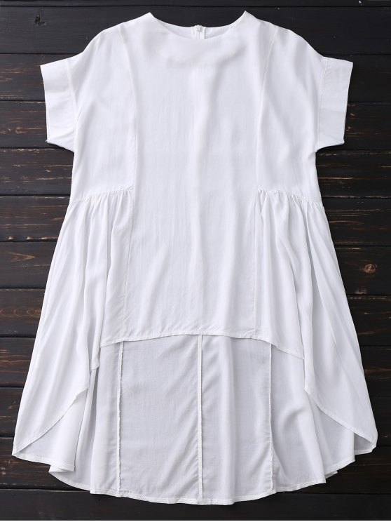 best High Low Skirted Flowy Top - WHITE S