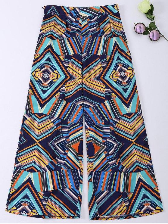 Pantalones anchos de Boho de la raya de la impresión geométrica - Colormix S