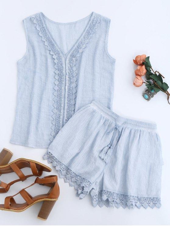 Camiseta sin mangas con encaje y pantalones cortos con cordón - Azul claro XL