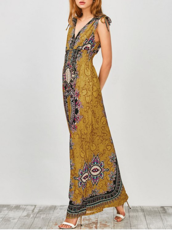 outfit Maxi Print Plunge Bohemian Dress - EARTHY S