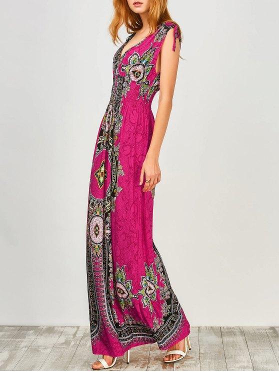 Maxi Print Plunge Bohemian Dress - Sangria M