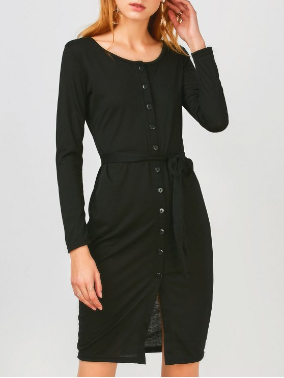 ladies Long Sleeve Button Up Slit Sheath Dress - BLACK XL