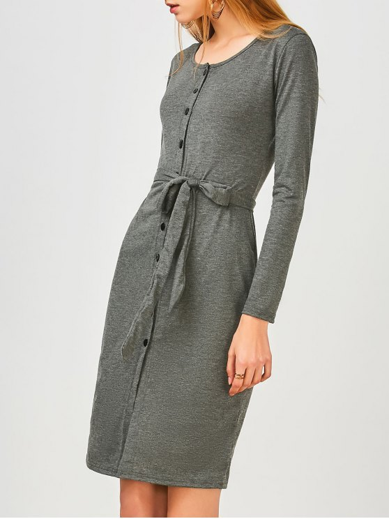 lady Long Sleeve Button Up Slit Sheath Dress - DEEP GRAY XL
