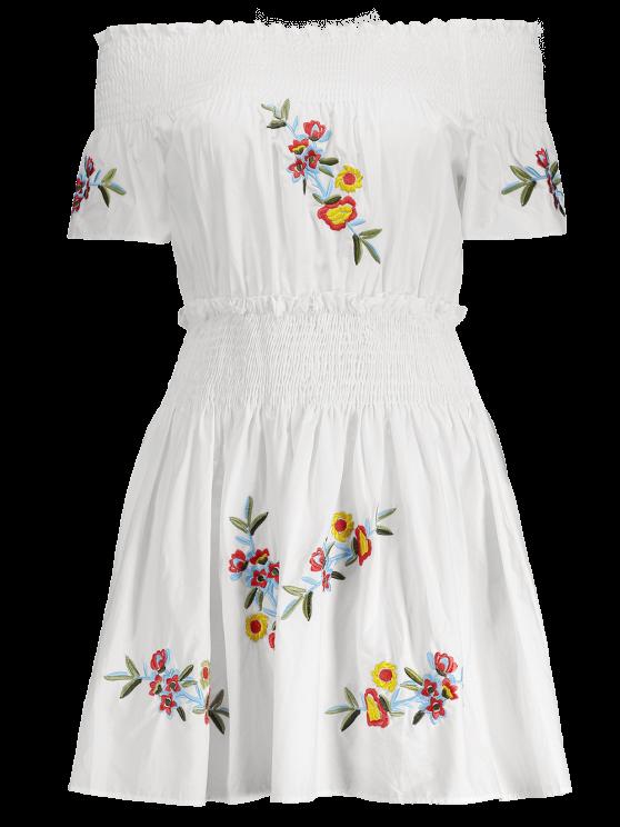 Floral Embroidered Smocked Off Shoulder Dress - WHITE S Mobile
