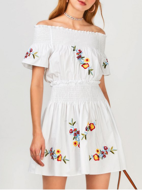 unique Floral Embroidered Smocked Off Shoulder Dress - WHITE L