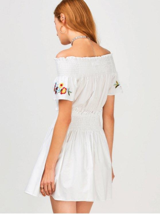 Floral Embroidered Smocked Off Shoulder Dress - WHITE L Mobile