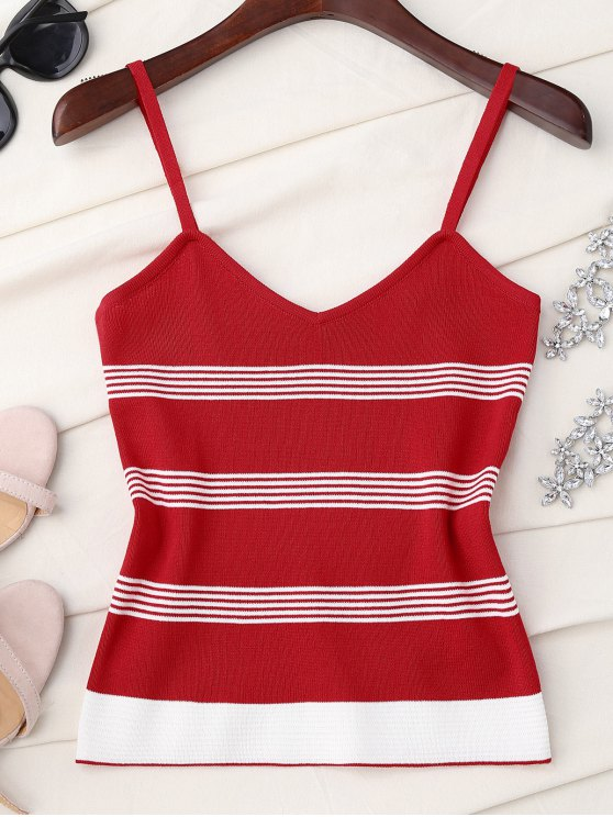 affordable Striped Slip Knitted Tank Top - RED ONE SIZE