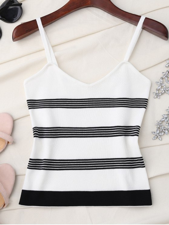 buy Striped Slip Knitted Tank Top - WHITE ONE SIZE