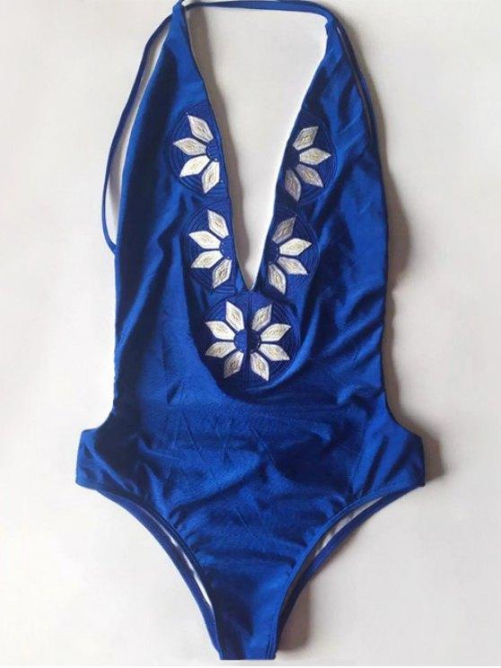 Cami bordado del traje de baño de una sola pieza - Azul XL