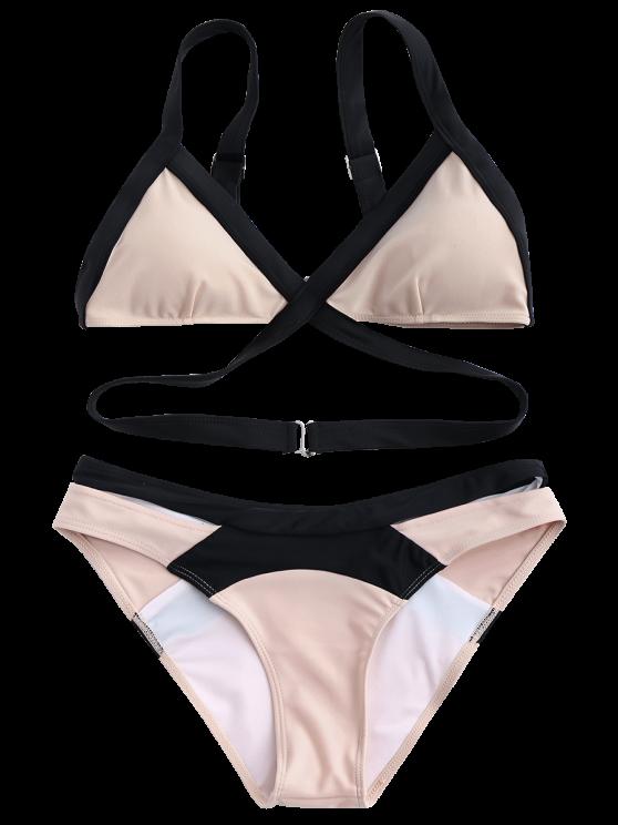 Patchwork Bandage Bikini Set - PINK L Mobile