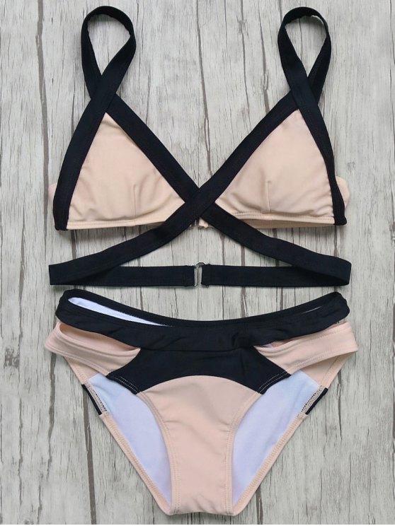 shop Patchwork Bandage Bikini Set - PINK M