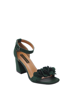 Block Heel Ankle Strap Flowers Sandals - Blackish Green 37