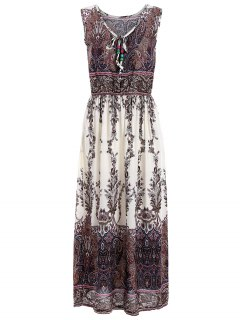 Paisley Print Sleeveless Elastic Waist Midi Dress - Off-white