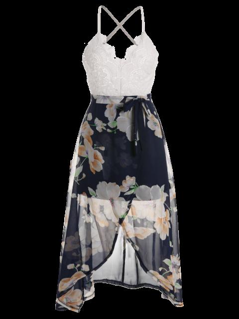 trendy Backless Spaghetti Straps Lace Spliced Dress - WHITE XL Mobile