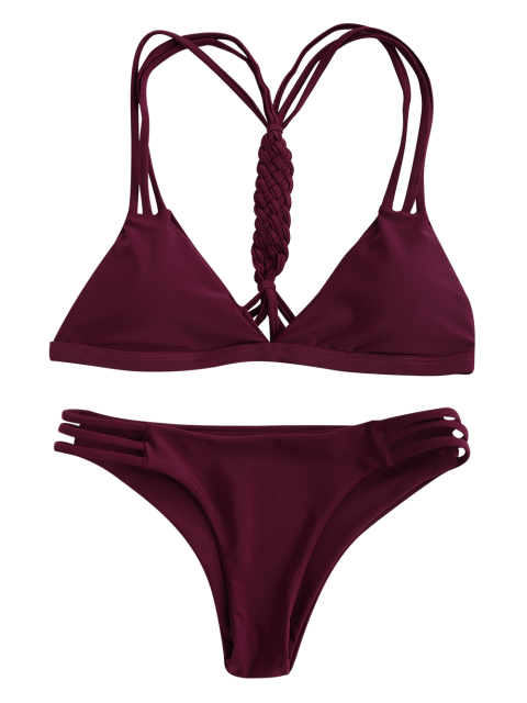 shops Women High-Cut Hollow Out Swimsuit Slip - WINE RED M Mobile