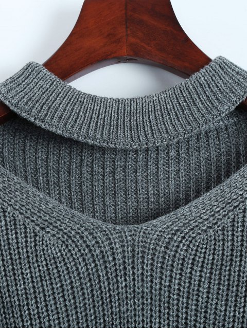 hot Cut Out Chunky Choker Sweater - GRAY ONE SIZE Mobile