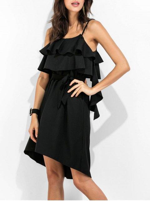 best Spaghetti Straps Ruffle Dress - BLACK S Mobile