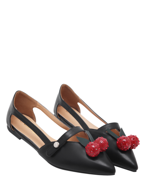 hot Hollow Out Cherry Faux Leather Flat Shoes - BLACK 39 Mobile