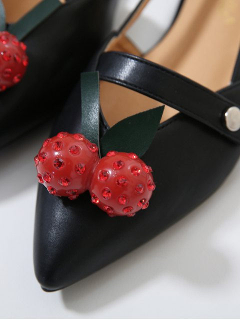outfit Hollow Out Cherry Faux Leather Flat Shoes - BLACK 37 Mobile