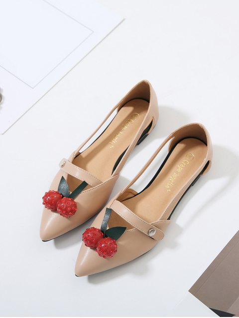 shop Hollow Out Cherry Faux Leather Flat Shoes - APRICOT 39 Mobile