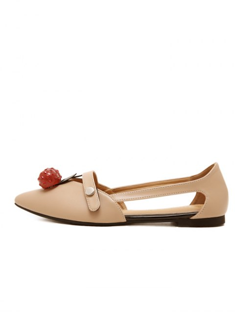latest Hollow Out Cherry Faux Leather Flat Shoes - APRICOT 38 Mobile
