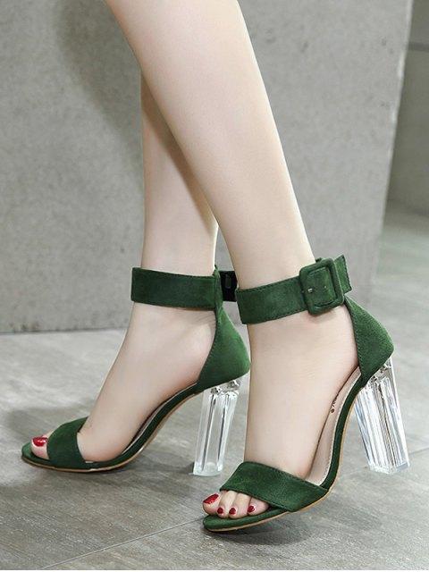 trendy Flock Ankle Strap Crystal Heel Sandals - GREEN 39 Mobile