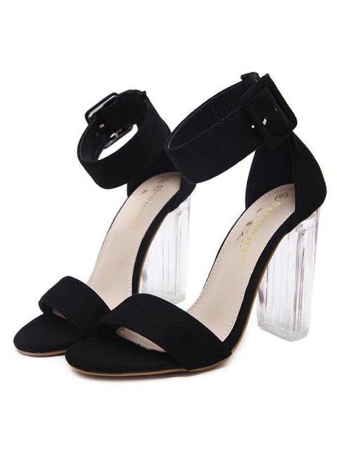 unique Flock Ankle Strap Crystal Heel Sandals - BLACK 37 Mobile