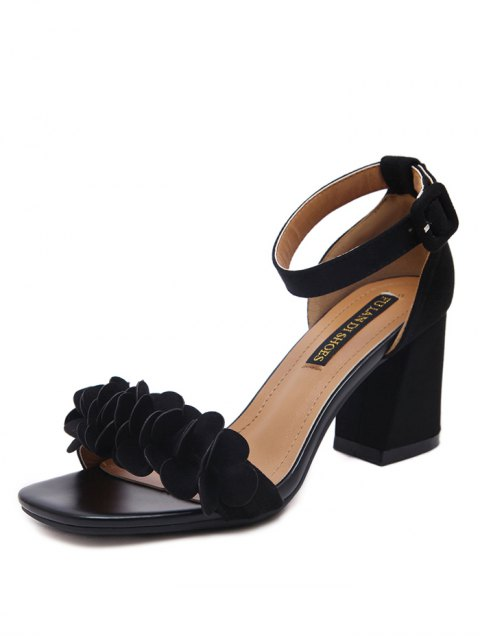 womens Block Heel Ankle Strap Flowers Sandals - BLACK 38 Mobile