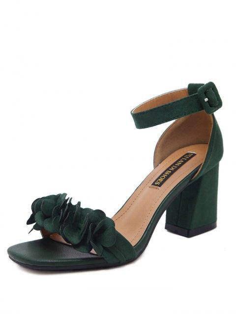 women's Block Heel Ankle Strap Flowers Sandals - BLACKISH GREEN 37 Mobile
