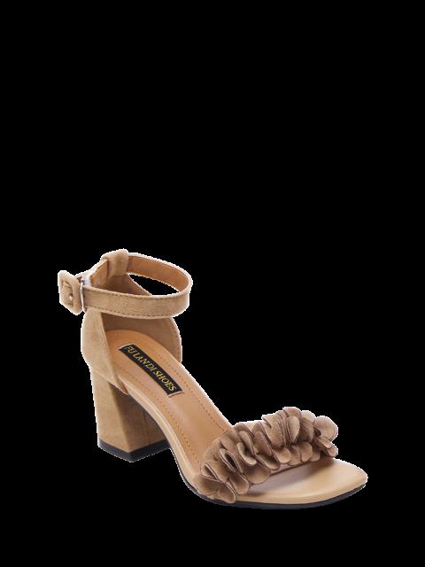 online Block Heel Ankle Strap Flowers Sandals - KHAKI 38 Mobile