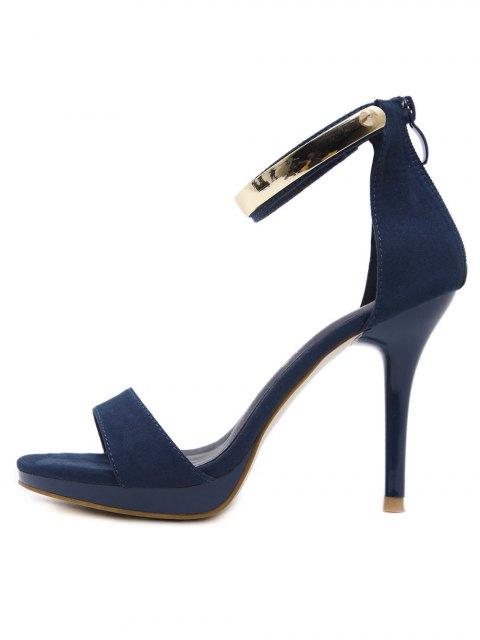 outfit Platform Zipper Metal Rivets Sandals - CADETBLUE 38 Mobile