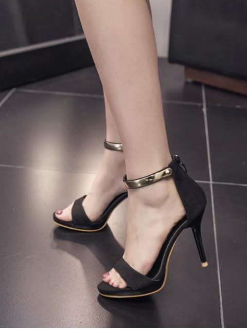 shop Platform Zipper Metal Rivets Sandals - BLACK 37 Mobile