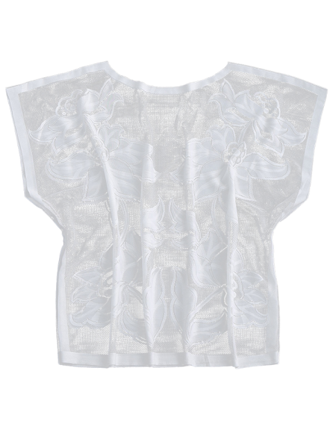 latest Oversized Lace Dolman Beach Cover Up - WHITE ONE SIZE Mobile