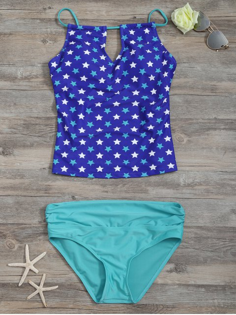 trendy High Waisted Pentagram Print Keyhole Tankini Set - BLUE S Mobile