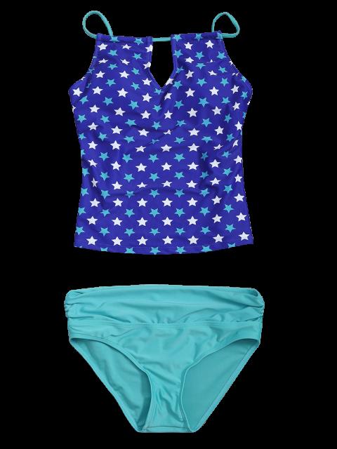 fashion High Waisted Pentagram Print Keyhole Tankini Set - BLUE M Mobile