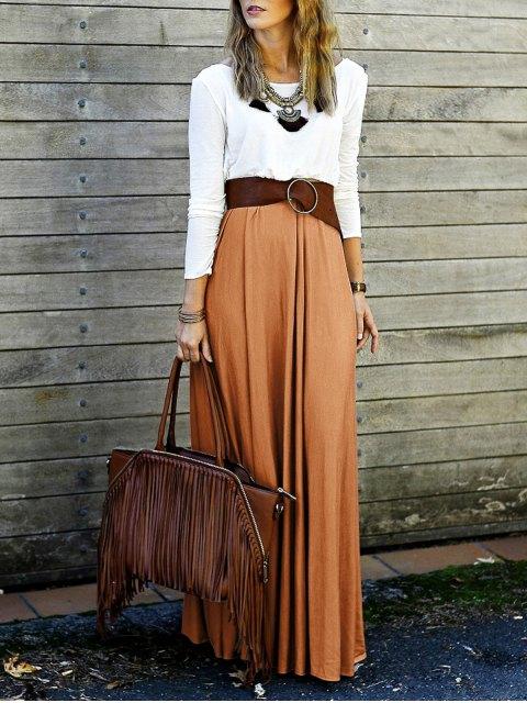 shop Spliced Back Criss-Cross Maxi Dress - ORANGE M Mobile
