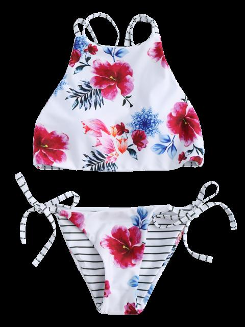 fashion Floral Halter String Bikini Cute Bathing Suit - WHITE M Mobile