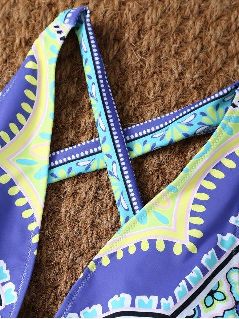 buy Plunge Neck Printed Criss-Cross Swimwear - MULTICOLOR XL Mobile