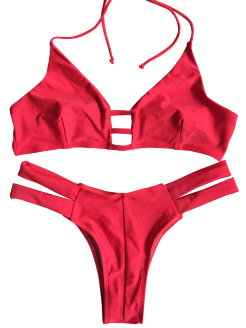 hot Banded Unlined Halter Bikini - RED XL Mobile