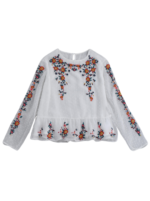 sale Ruffles Floral Embroidered Blouse - WHITE M Mobile