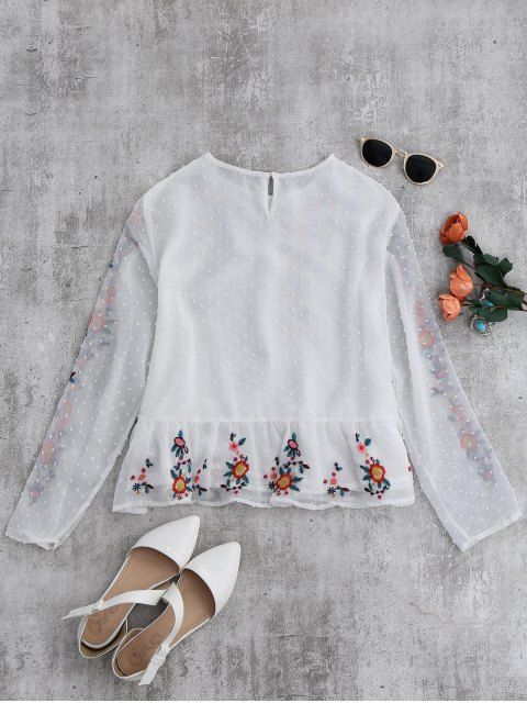 affordable Ruffles Floral Embroidered Blouse - WHITE S Mobile