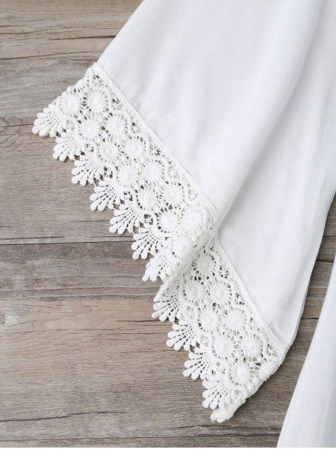 shops Casual Lace Trim Straight Dress - WHITE L Mobile